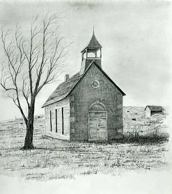 Old School House Drawing - Old School House by Steve Cost