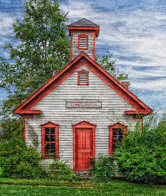 1892 Summit School House Version 3 Art Print by Frank J Benz