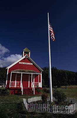 Photograph - Old School House With American Flag by Jim Corwin