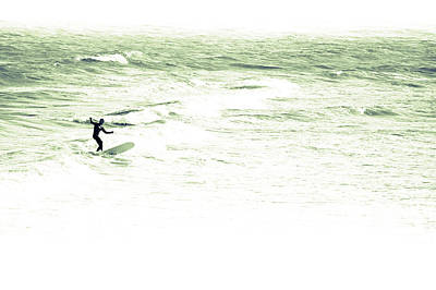 Photograph - Old School Longboard Lone Surfer by Gray  Artus