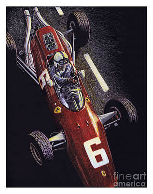 Formula One Drawing - Old School by Robin DaSilva