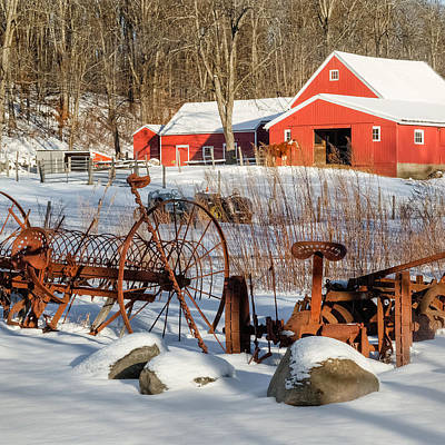 Red Barn In Winter Photograph - Old School Square by Bill Wakeley