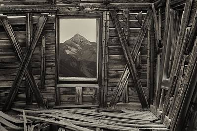 Cabin Window Photograph - Old School Wilson Picture Frame by Mike Berenson
