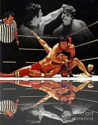 Photograph - Old School Wrestling Headlock By Dean Ho On Don Muraco With Reflection by Jim Fitzpatrick