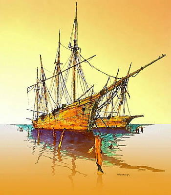 Painting - Old Schooners At Wiscasset by Duane McCullough