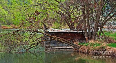 Photograph - Old Shanty On River Bank Art Prints by Valerie Garner