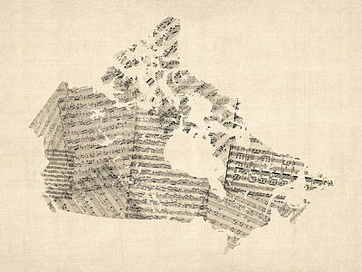 Old Sheet Music Map Of Canada Map Art Print by Michael Tompsett