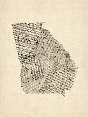 Music Score Digital Art - Old Sheet Music Map Of Georgia by Michael Tompsett