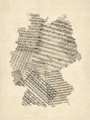 Old Sheet Music Map Of Germany Map Art Print by Michael Tompsett