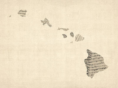 Music Map Digital Art - Old Sheet Music Map Of Hawaii by Michael Tompsett