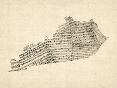 Music Map Digital Art - Old Sheet Music Map Of Kentucky by Michael Tompsett