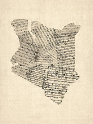 Old Sheet Music Map Of Kenya Map Art Print by Michael Tompsett