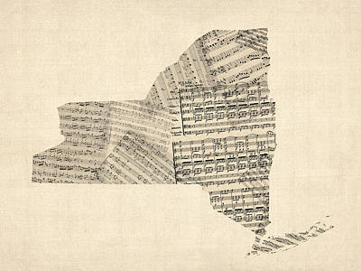 Old Sheet Music Map Of New York State Art Print by Michael Tompsett