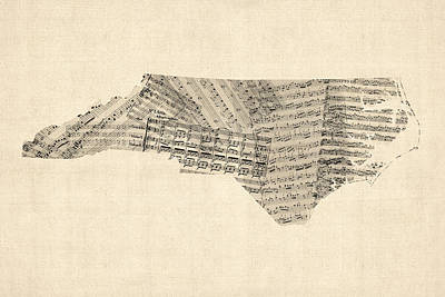 Old Sheet Music Map Of North Carolina Art Print by Michael Tompsett