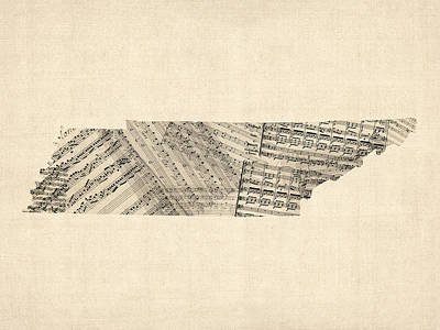 Music Map Digital Art - Old Sheet Music Map Of Tennessee by Michael Tompsett