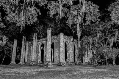 Photograph - Old Sheldon Church At Night by Charles Hite