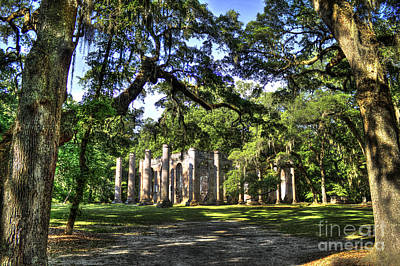 Photograph - Old Sheldon Church Ruins Near Beaufort Sc by Reid Callaway