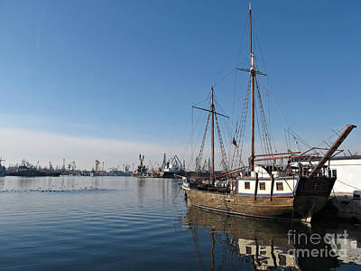 Old Ship In Calm Water Harbor Art Print