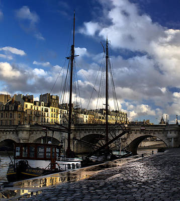 Photograph - old ship in seine river Paris by Radoslav Nedelchev