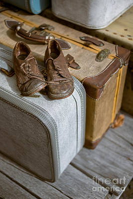 Packing Photograph - Old Shoes And Packed Bags by Edward Fielding