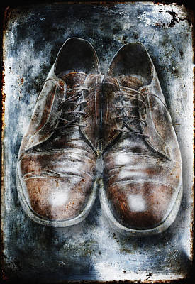 Old Shoes Frozen In Ice Art Print by Skip Nall