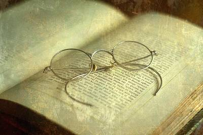 Old Silver Spectacles And Book Art Print by Suzanne Powers