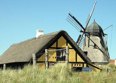 Old Skagen House And Windmill Print by Konni Jensen