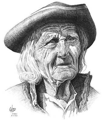 Slovak Drawing - old Slovak man in traditional hat  by Vlado Ondo