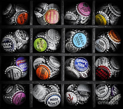 Bottle Cap Photograph - Old Soda Bottle Tops by Tim Gainey