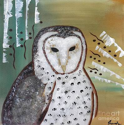 Painting - Old Soul - Barn Owl Spirit by Jean Fry