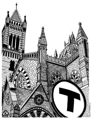 Stop Sign Drawing - Old South Church Boston by Conor Plunkett