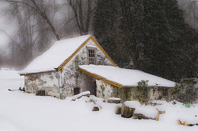 Old Springhouse In The Snow Art Print by Bill Cannon