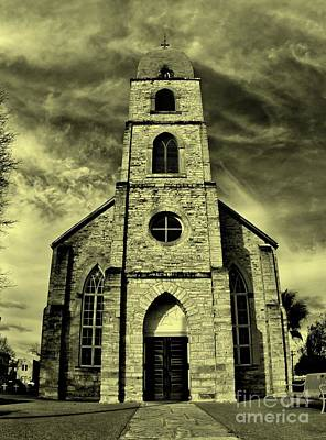 Old St. Mary's Church In Fredericksburg Texas In Sepia Art Print