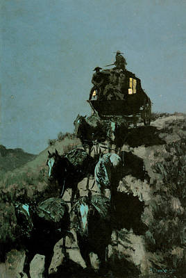 Coach Horses Painting - Old Stage Coach Of The Plains by Frederick Remington