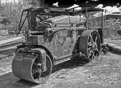 Photograph - Old Steam Roller - Black And White by Gregory Dyer