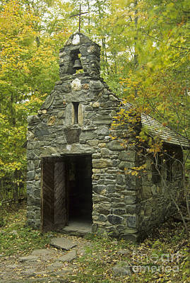 Old Stone Chapel At Trapp Family Lodge Print by Ellen Thane