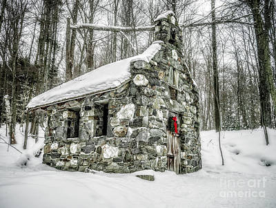 Photograph - Old Stone Chapel Stowe Vermont by Edward Fielding
