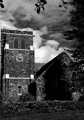 Photograph - Old Stone Church With A Clock by John Orsbun
