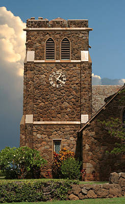 Photograph - Old Stone Church With Clock by John Orsbun