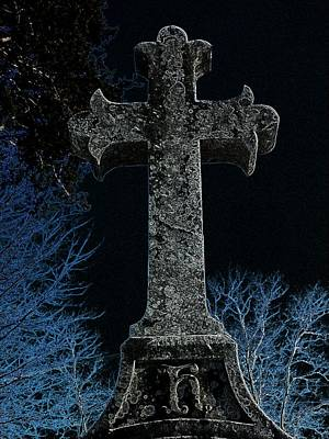 Cemetary Painting - Old Stone Cross by Michael  Ard