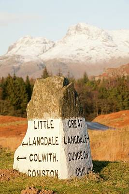 Old Stone Road Sign In Langdale Art Print by Ashley Cooper