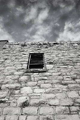 Photograph - Old Stone Wall Black And White Photograph by Ann Powell