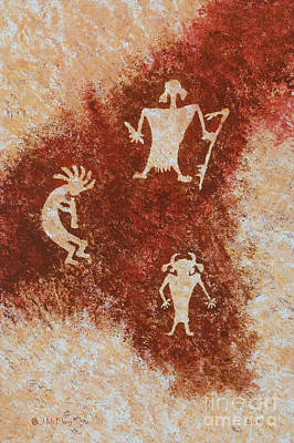Pictograph Painting - Old Stories by Jerry McElroy