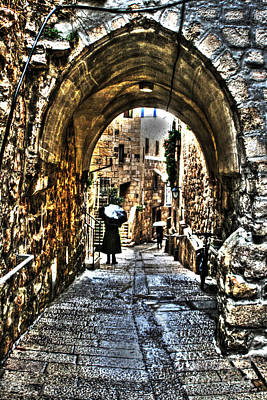 Art Print featuring the photograph Old Street In Jerusalem by Doc Braham