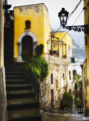 Old Street In Positano Art Print by George Oze