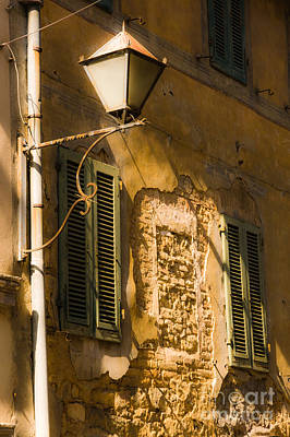 Old Street Lamp And Shuttered Windows In Montalcino Art Print