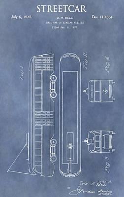 Trolley Digital Art - Old Streetcar Patent by Dan Sproul