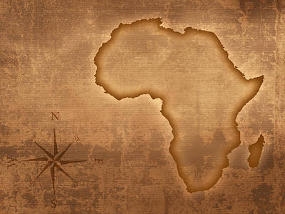 Faded Photograph - Old Style Africa Map by Johan Swanepoel
