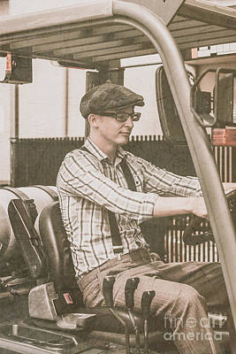 Old Style Warehouse Worker Driving Forklift Art Print