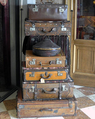 Old Suitcase Display In Front Of A Shop In Murano Italy Original by Jerry Berger